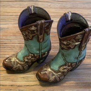 Teal and brown mini cowboy boots